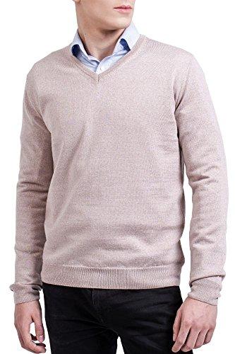 KNITTONS Men's 100% Merino Wool Extra Fine Classic V-Neck Sweater Long Sleeve Pullover (Medium, (Merino V-neck Jumper)