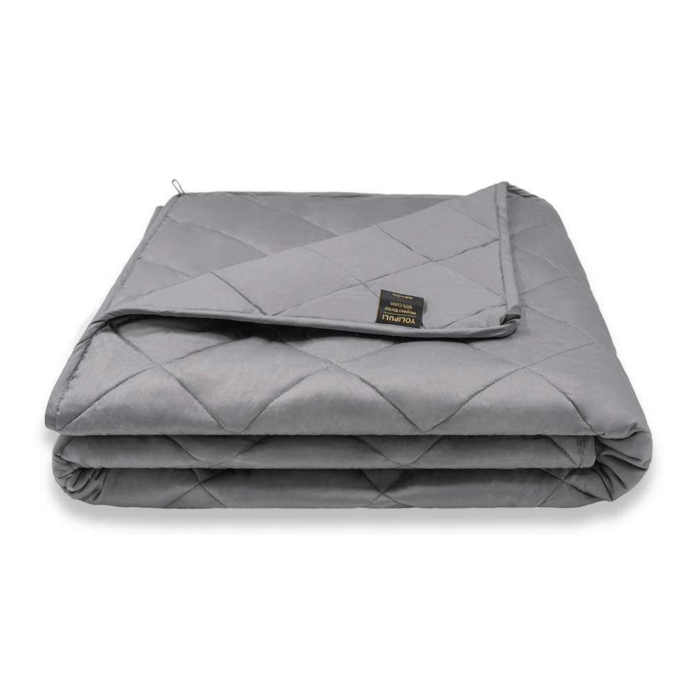 YOLIPULI Weighted Blanket for Kids 10 lbs, 40 x 60 inches Heavy Cool Blankets, 100% Cotton Organic with Cooling Glass Beads