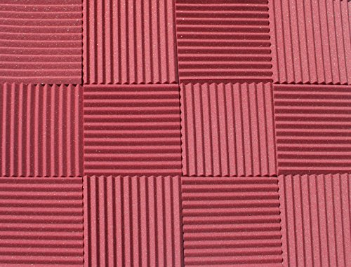 soundproofing-acoustic-studio-foam-burgundy-color-wedge-style-panels-12x12x1-tiles-6-pack