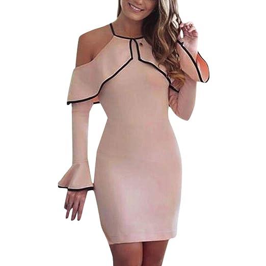 0428116d2da Amazon.com  AMSKY 2019 Womens Off Shoulder Mini Dress Ladies Party ...