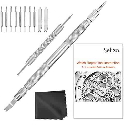 Selizo Spring Bar Tool Watch Link Remover Tool Kit with Instruction Manual Watch Band Tool Link Pin Removal for Watch Repair Band Adjustment Replacement Sizing