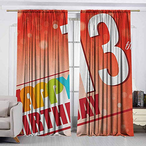 - VIVIDX Doorway Curtain,13th Birthday,Retro Style Teenage Party Invitation Graphic Design with Bokeh Effect Rays,Room Darkening, Noise Reducing,W55x63L Inches Multicolor