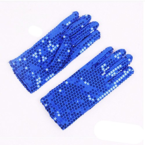 [FinalZ 1 Pair Child Costume Dress up Dance Sequin Cosplay Party Halloween Gloves (Blue)] (Michael Jackson Black Or White Costume)