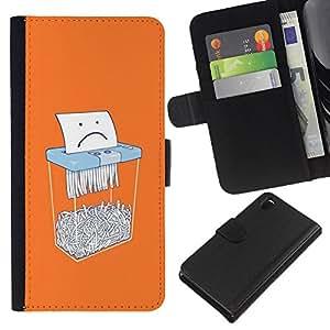 Papel triste oficina divertido de la historieta- la tarjeta de Crédito Slots PU Funda de cuero Monedero caso cubierta de piel Para Sony Xperia Z3 D6603