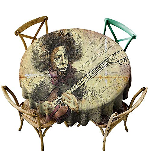 (Wendell Joshua Camping Tablecloth 39 inch Jazz Music,Guitar Virtuoso Hand Drawn Style Illustration of a Guitar Player Musician, Brown Beige Black Indoor/Outdoor Spillproof Table Cloth)