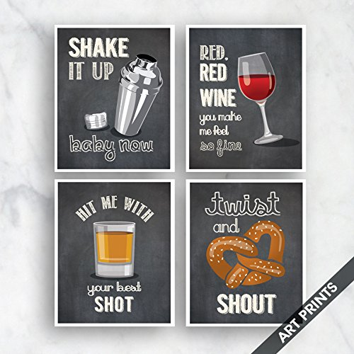 Rectangular Cocktail Series (Shake it, Red Wine, Shot, Shout (Funny Kitchen Song Series) Set of 4 5x7 inch Unframed Art Prints (Featured color Vintage Chalkboard) Kitchen Art)