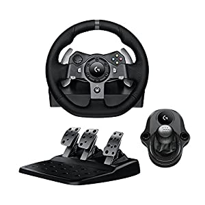 Logitech G920 Driving Force Racing Wheel & Pedals Plus Gear Shifter Bundle (Xbox One & PC) UK-Plug