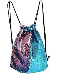 Mermaid Drawstring Bag Magic Reversible Sequin Backpack Glittering Dance Bag for Yoga Outdoors Sports,Valentine's Day Gift for Girls Women