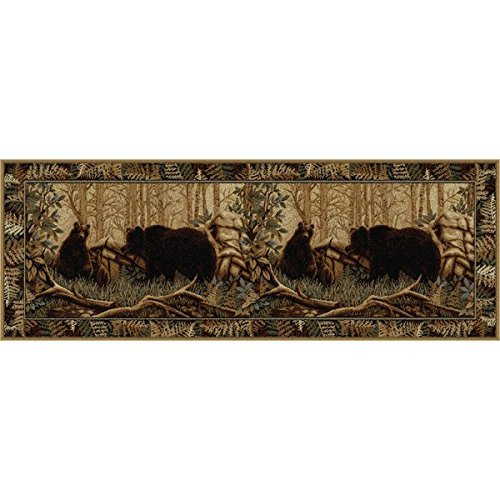 OTSK 2'7'' x7'3 Beige Brown Bear Wildlife Printed Runner Rug, Hunting Wild Nature Lodge Cottage, Southwest Cabin Themed, Indoor Animal Pattern Living Room Rectangle Carpet, Soft Synthetic