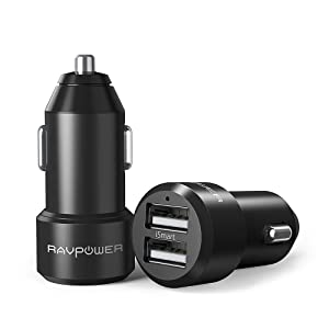 RAVPower Car Chargers [2 Pack] 24W 4.8A Metal Dual USB Car Adapter with iSmart 2.0, Compatible iPhone 11 Pro Max XS Max XR X 8 7 Plus, iPad Pro Air Mini, Galaxy S9 S8 S7 Edge Note, Nexus and More