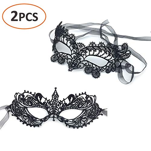 Bar Halloween Costume Ideas (iMapo 2 pcs Masquerade Mask for Women DIY Cosplay Mardi Gras Halloween Party Costume Ball, Girl's Sexy Lace Venetian Style Eye Masks for Opera Dancing Evening -)