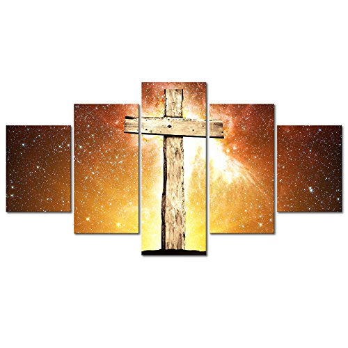 Kolo Wall Art - Canvas Prints Wall Art Holy Christian Cross with Holy Light Modern Wall Decor Religion Home Decoration Stretched Gallery Canvas Print Ready to Hang (Holy Christian Cross, 32''X60'') by Kolo Wall Art
