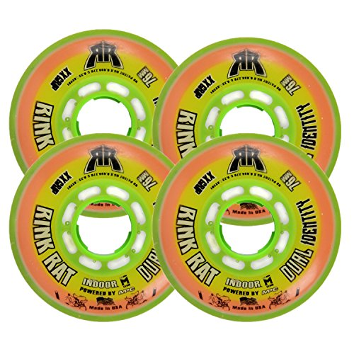 - Rink Rat Wheels 76mm 78a Dual Identity 4-Pack Orange/Green Inline Indoor Hockey