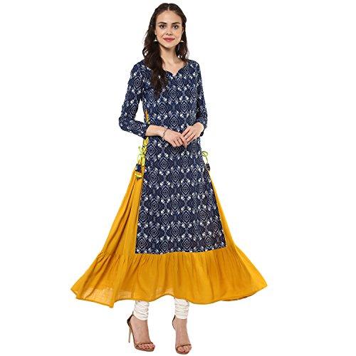 9668245735 Indian Virasat Kurtis Ethnic Women Kurta Kurti Tunic Multicolouredl Print  Top Dress New Casual Wear