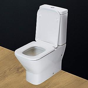 KLARA Toilet WC Bathroom Close Coupled Square Heavy Duty Ceramic Soft Close Seat