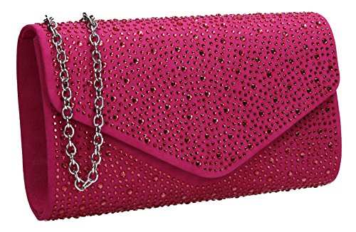 Fuchsia Suede Bag Womens SWANKYSWANS Clutch Envelope Cadence Diamante Ladies 6qxE8w