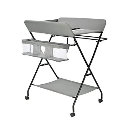 Children Girl Boy Diaper Station with Storage LAMXF Folding Baby Changing Table with Change Pad and Safety Strap Dresser Changing Table,Diaper Station Nursery Organizer