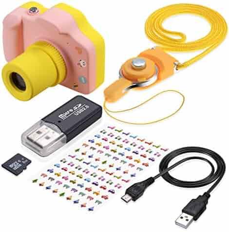 Kids Digital Camera TURN RAISE Mini 1.5 Inch Screen Children's Camera with Memory Card (Pink)