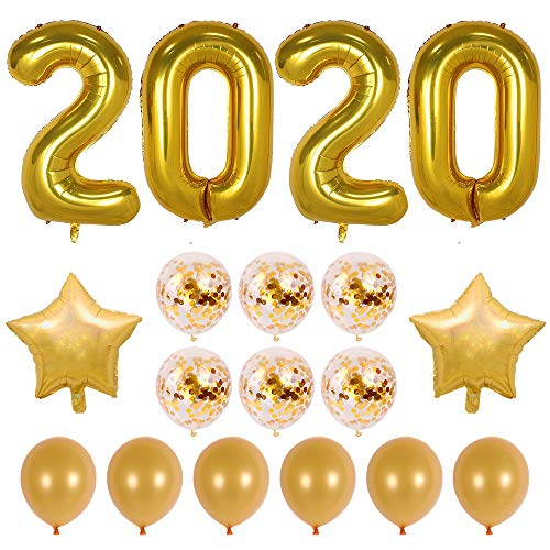 40inch Gold 2020 Balloons Graduation Party Balloons with Gold Confetti Balloons 18inch Star Balloons for New Year Party Grad Event Anniversary Party Decorations (Gold) (Graduations Balloons)