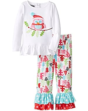 Little Girls' Christmas Owl Pant Set
