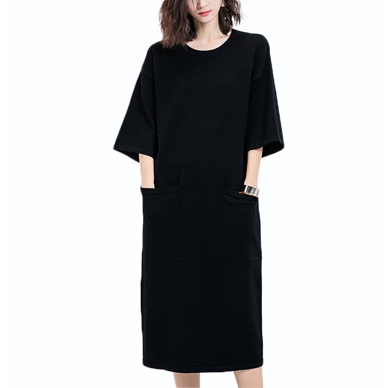 EXLURA Loose Knitwear Dress with Square Pocket