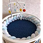 Braided-Crib-Bumper-Soft-Pad-Flannel-Crib-Bumper-Sleep-Bumper-Safe-for-ToddlerNewborn-Included-Edge-Corner-Guards-WhiteGreyBlue-79in2Meters