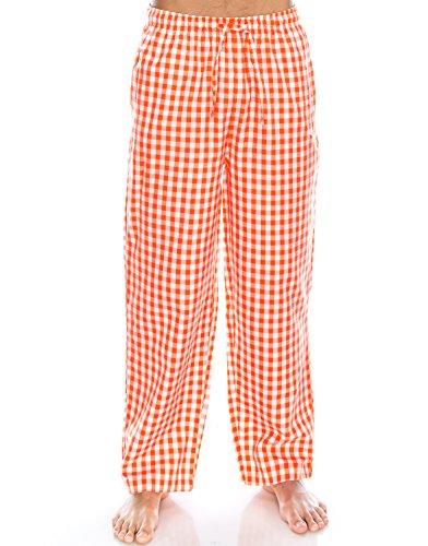 TINFL Boys Plaid Check Soft 100% Cotton Lounge Pants YP-51-Orange-S