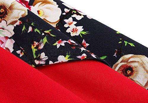 Licol Amie Des Femmes Killreal Haut Cocktail Cru Robe De Soirée Noël Imprimé Rouge / Floral
