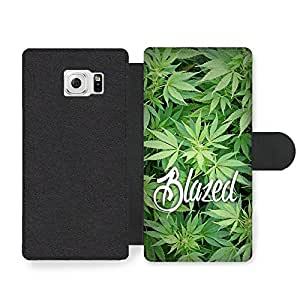 New Blazed Design Funny Weed Marijuana Text Quote on Green Faux Leather case for Samsung Galaxy S6