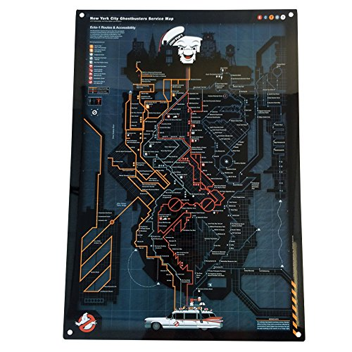 Factory Entertainment Ghostbusters NYC Subway Map Metal Sign (Subway/4 Sign Nyc)