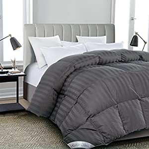 ROSECOSE Luxurious All Seasons Goose Down Comforter Duvet Insert Gray Stripe 1200 Thread Count 750+ Fill Power 100% Cotton Shell Hypo-allergenic Down Proof With Tabs by ROSECOSE