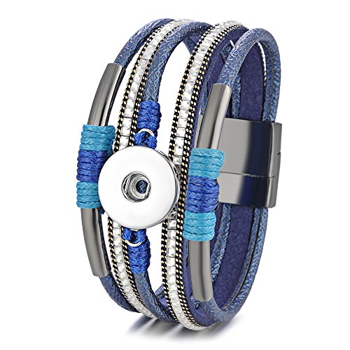 Bling Chunk - Snap Jewelry Leather Bracelet Magnetic Bangle for Women Bling with Crystal 18mm Button ANN-605 (Blue)