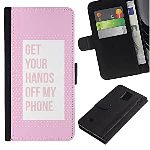 LASTONE PHONE CASE / Lujo Billetera de Cuero Caso del tirón Titular de la tarjeta Flip Carcasa Funda para Samsung Galaxy Note 4 SM-N910 / Off Phone Keep Away Pink Text