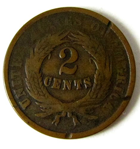 1864 P Two Cent Pieces Large Motto Two-Cent Good