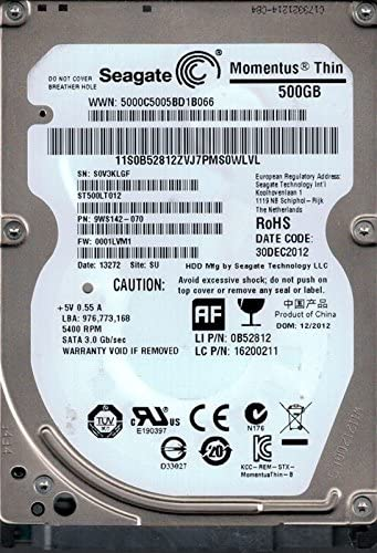 9WS142-070 F//W 0001LVM1 500GB WU Seagate ST500LT012 P//N