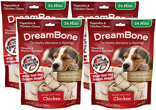 DreamBone 4 Pack of Vegetable and Chicken Dog Chews, Mini, 24 Per Pack ()