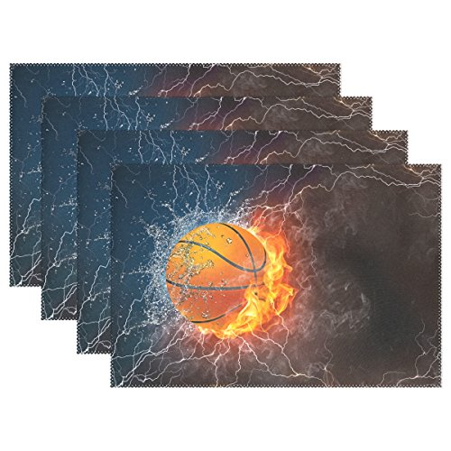 Hokkien Blue Viper Basketball On Fire and Water with Lightening Placemat Heat-Resistant Stain Resistant Polyester Fabric Tray Mat for Kitchen Dining Table 12 x 18 inch Set of 4