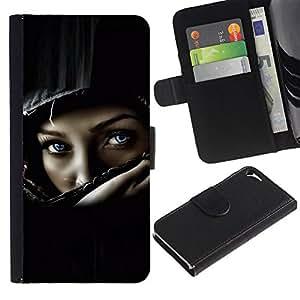 KingStore / Leather Etui en cuir / Apple Iphone 5 / 5S / Casco del polluelo del motorista muchacha mujer Negro