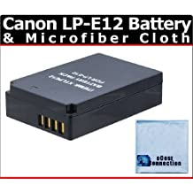 LP-E12 Battery for Canon Rebel SL1, EOS 100D, EOS-M Mirrorless Digital Camera & more + Microfiber Cloth by eCost