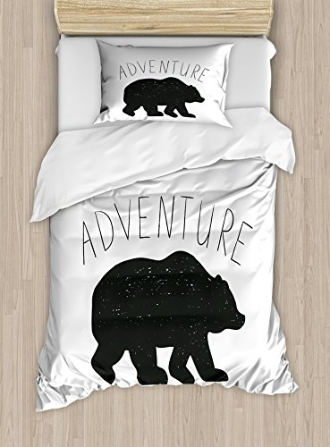 - Ambesonne Adventure Duvet Cover Set Twin Size, Black Silhouette of a Wild Bear Zoo Animal Nature Passion Hipster Design, Decorative 2 Piece Bedding Set with 1 Pillow Sham, Grey White