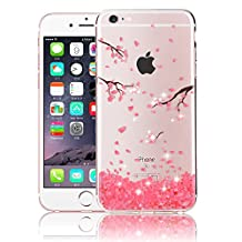 iPhone 5 Case, Bonice iPhone 5S/SE Diamond Bling Shining Painting TPU Case Flexible Clear Soft Rubber TPU Skin Case Silicone Gel Cover for Apple iPhone 5/5S/SE - Pink Petal