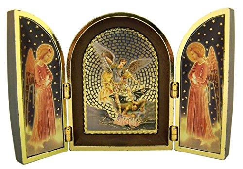Gold Foil Archangel Saint Michael with Angels Icon Mosaic Triptych, 4 3/4 - Saints Icons Wooden