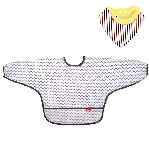 (Besego Waterproof Long Sleeved Bib&Baby Bibs, Reusable Feeding Smock&Toddler Bib,6-24 Months )