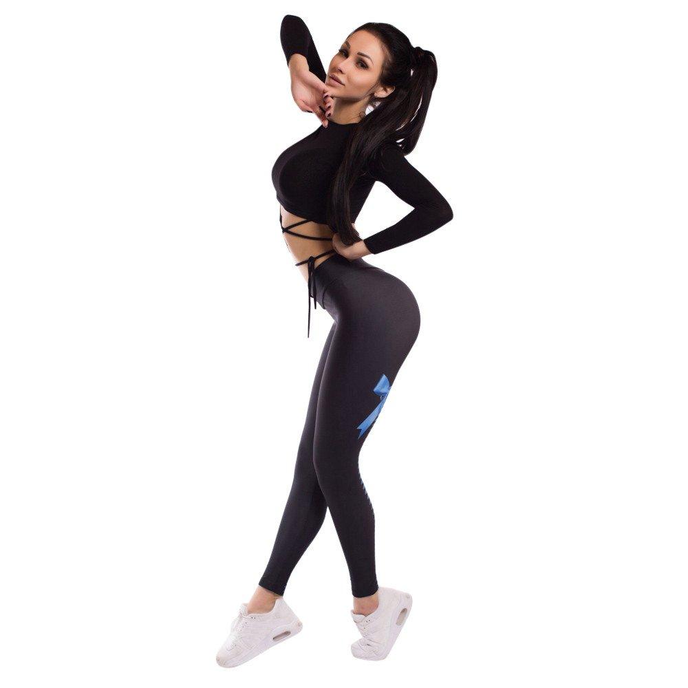 dcddfd2743 Minisoya Women Bow Printed Pants Sports Gym Yoga Workout Running Fitness  Trouser Elastic Pencil Leggings