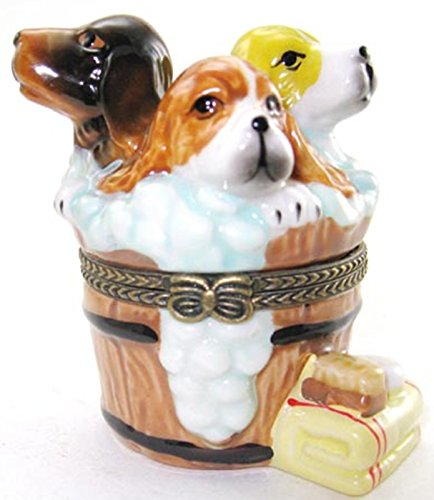 Art Gifts Washing Tub Suds Dogs Puppies Puppy Porcelain Hinged Trinket Box phb