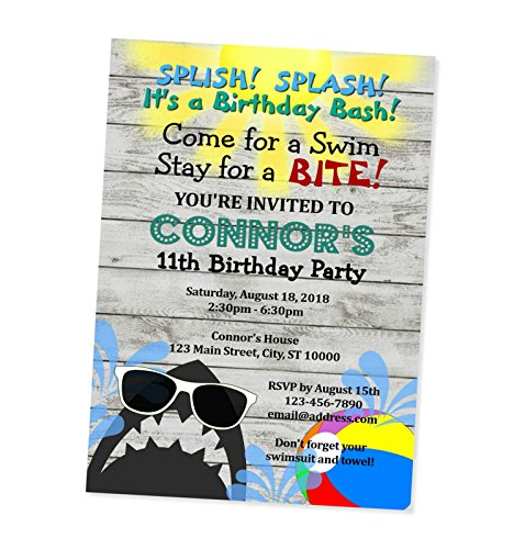 amazon com shark pool party invitations birthday party invitations