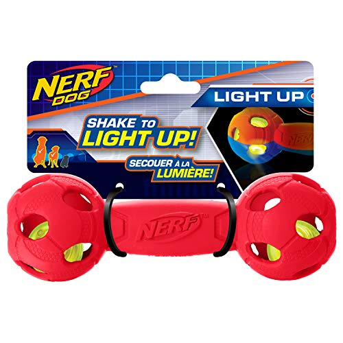 Nerf Dog 7in LED Bash Barbell: Red, Dog Toy
