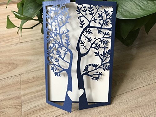 Pearl Paper Navy Blue Tree Laser Cutting Invitation Cards,Lace Birthday Greeting Cards,Invite Cards,Wedding Invitation 50pcs -