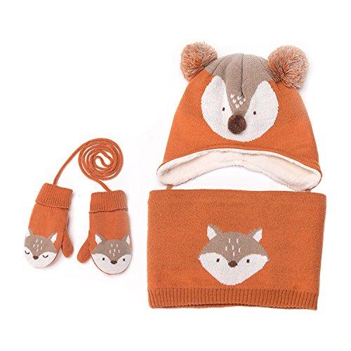 Baby Hats Baby Mittens Baby Girls Boys Winter Warm Knit Hat+Scarf+Gloves 3 Pieces Set (orange)