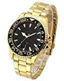 Top Plaza Men's Fashion Casual Full Steel Sports Watch 30M Waterproof Arabic Numerals Classic Business Calendar Analog Quartz Wrist Watch(Black Dial Gold Band)